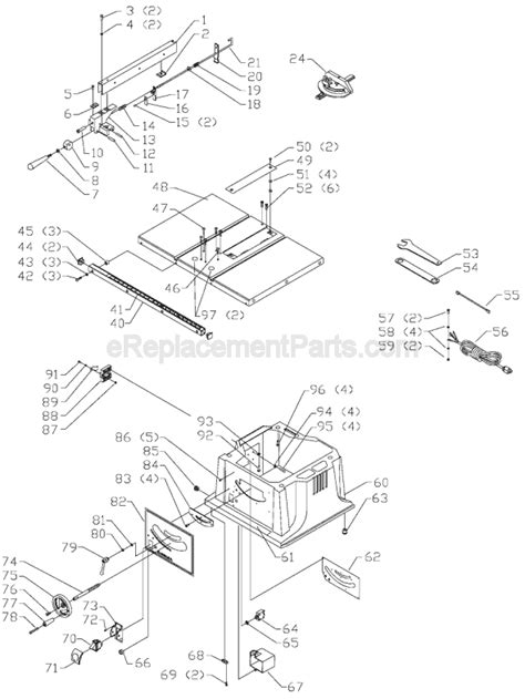 delta bench saw parts delta ts220ls parts list and diagram type 1