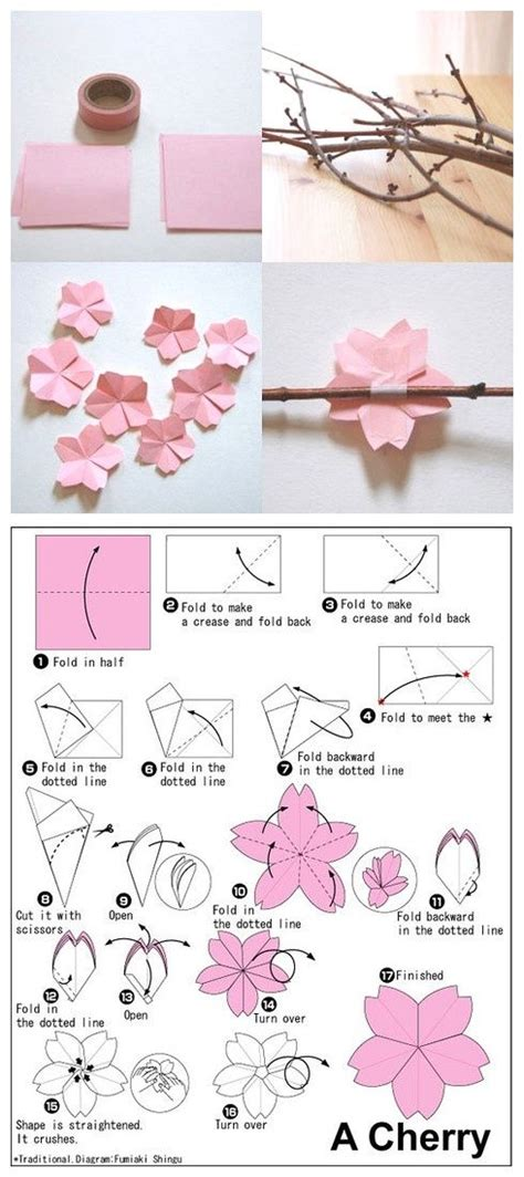 Origami Cherry - origami cherry blossom flower craft ideas