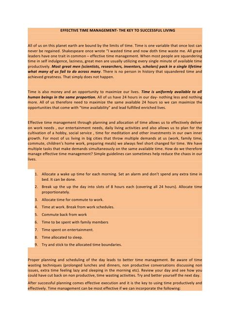 Management Essays by Time Management Essay Conclusion Docoments Ojazlink