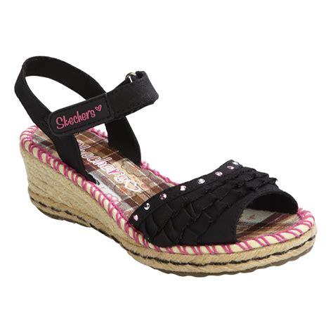 girls black sandals skechers girls sandal ruffle ups black 13 toddler