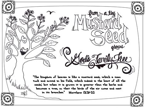 mustard tree coloring page parable of the mustard seed mrshlovesjesus