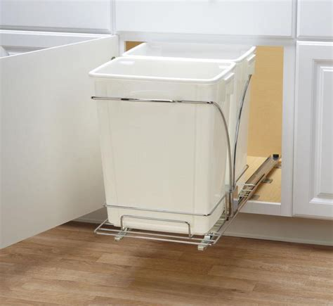 double pull out trash can in cabinet trash cans