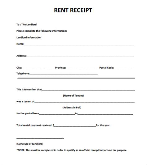 printable rent receipt sample 6 examples in word pdf