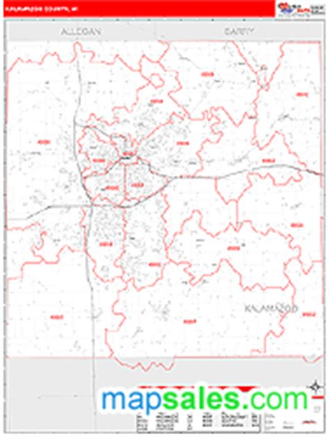 Zip Code Map Kalamazoo County | kalamazoo county mi zip code wall map red line style by