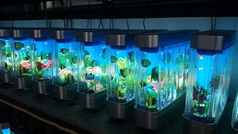 Aquarium Gel Ternak Semut Illuminated colorful light aquarium decorative 12v electric motion fish scenery abs fish tank for