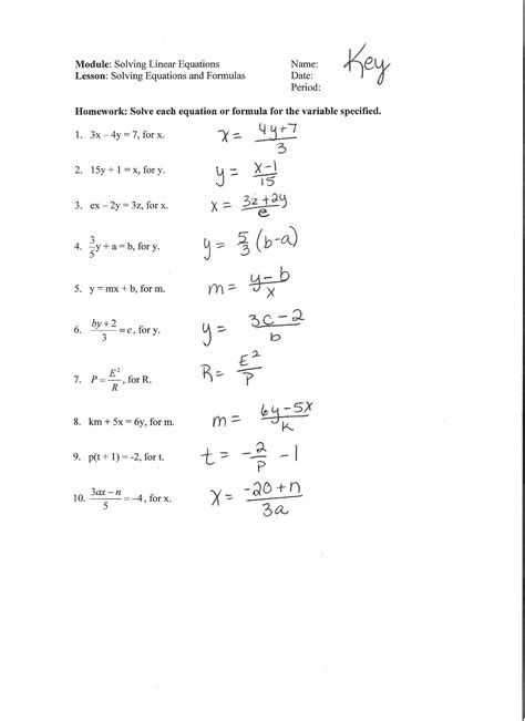 Literal Equations And Formulas Worksheet by Algebra With Pizzazz Answers Pg 204