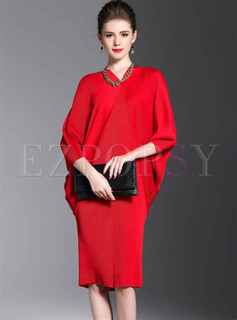 Sleeve V Neck Shift Dress v neck bat sleeve shift dress ezpopsy