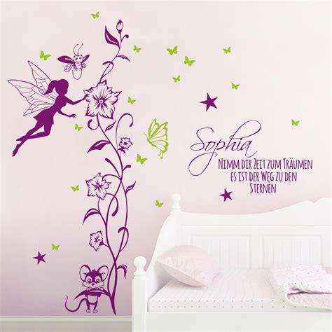 Wandtattoo Kinderzimmer Elfen by Wandtattoo Elfe Mit Maus Schmetterlinge Und Wunschname