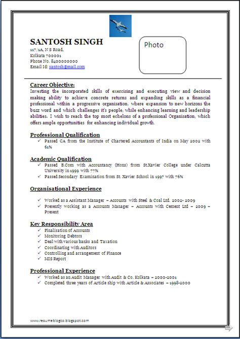 Attractive Resume Templates by Resume Co Professional Chartered Accountants Ca 14 Years Rich Experience In The