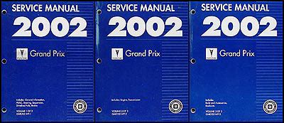 2002 pontiac grand prix factory service manual set original shop repair factory repair manuals 2002 pontiac grand prix repair shop manual original 3 volume set
