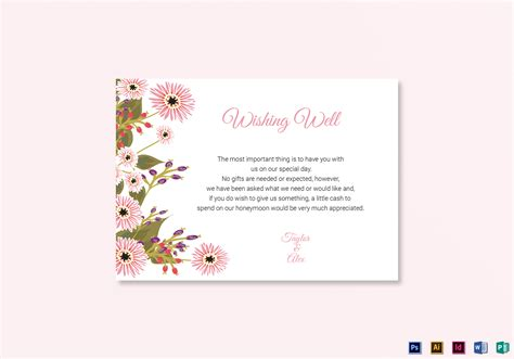 wishing card template floral wedding wishing well card design template in