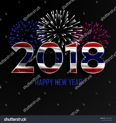 new year 2018 thailand happy new year merry 2018 stock vector 750819847