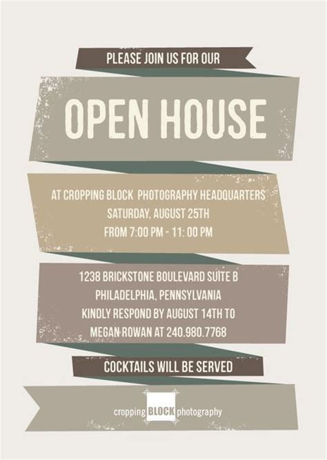 Open House Invitation Template ribbon corporate event invitations in ash or adobe