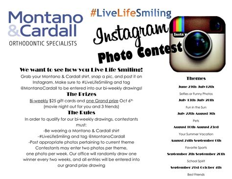 Instagram Comment Giveaway - livelifesmiling instagram photo contest montano cardall orthodontic specialists