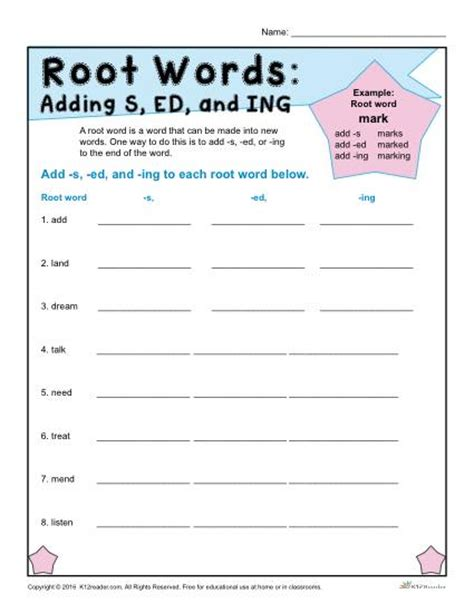 Root Words Worksheet by Root Words Worksheets Adding S Ed And Ing