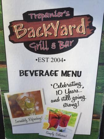 trepanier s backyard grill bar fond du lac menu