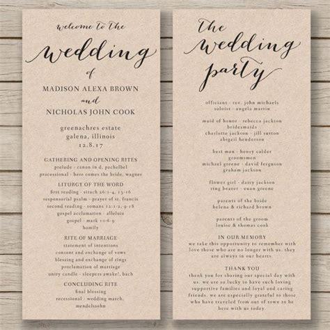 church wedding program template