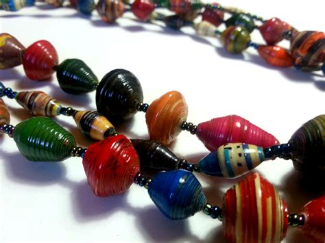 beady bead recycled paper bead necklace multicoloured