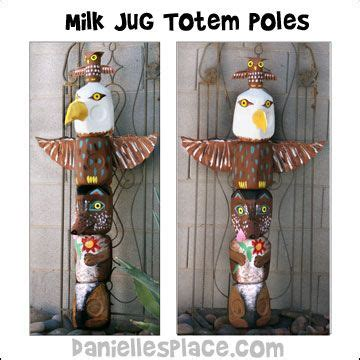 How To Make A Totem Pole Out Of Paper - milk jug totem pole craft from www daniellesplace 194