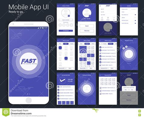 layout in app design file transfer and sharing mobile app ui layout stock
