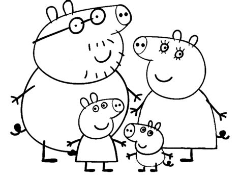 peppa pig coloring peppa pig and family coloring page for printable