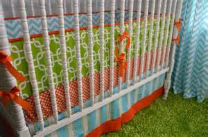 Orange And Blue Crib Bedding Custom Three Crib Bedding In Orange Green And Girly Blue