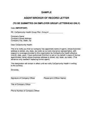 Insurance Bor Letter Broker Of Record Letter Template Letter Template 2017
