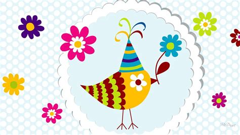 celebrating bird flowers birthday celebrate whimsical cute  desktop background