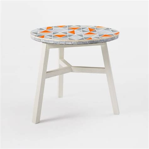 elm mid century bistro table mosaic tiled bistro table mid century orange top elm