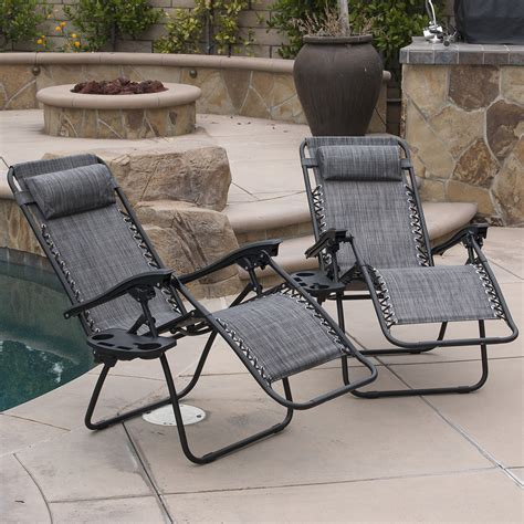 Zero Gravity Outdoor Recliner 2 Lounge Chair Outdoor Zero Gravity Patio Pool Yard Folding Recliner Gray Ebay