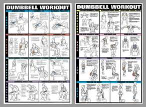 dumbell workout wall charts two poster combo