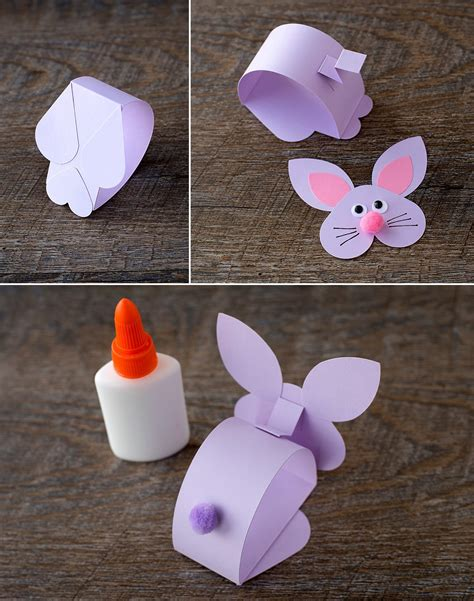 Easter Handcrafts - paper bobble bunny craft for