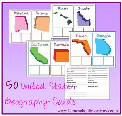 printable state postcards 50 states flash cards shape related keywords 50 states