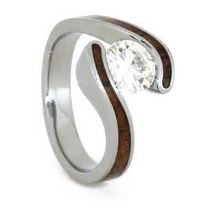 wood wedding rings wood engagement ring set with moissanite and koa wood