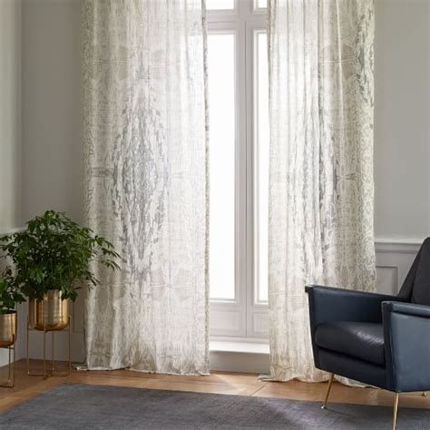dusty blue curtains sheer cotton distressed medallion curtains set of 2