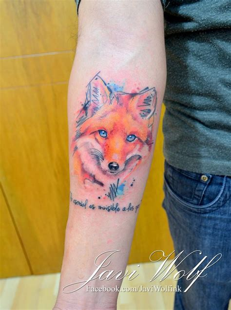 watercolor tattoo danmark realistic sketch watercolor fox tattooed by