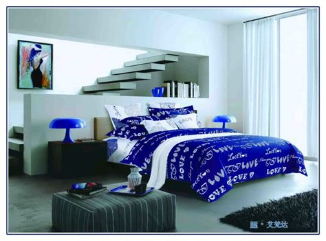 Linen Duvet Set Royal Blue Bedding Promotion Online Shopping For