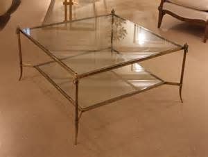 Antique Brass Glass Coffee Table - a square patinated brass and glass coffee table charles saunders