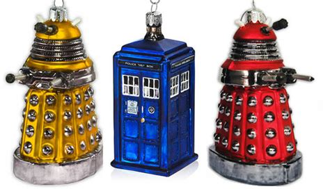 tardis red gold dalek christmas decorations