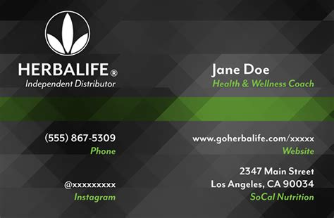 Business Card Templates Herbalife by Herbalife Business Card On Behance