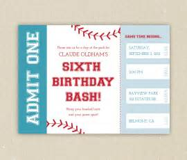 baseball ticket themed birthday party invitation
