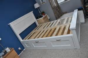 white farmhouse bed with drawer storage diy projects
