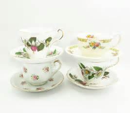 Tea Cup Wedding Favors by 4 Sets Of Mismatched Vintage Floral Tea Cups Teacups