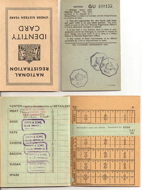 rationing book template ww2 national registration identity cards