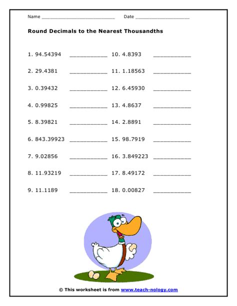 Rounding Decimals Worksheet With Answers by Decimals To The Nearest Thousandths