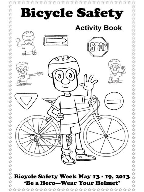 bicycle safety coloring pages free printable bicycle