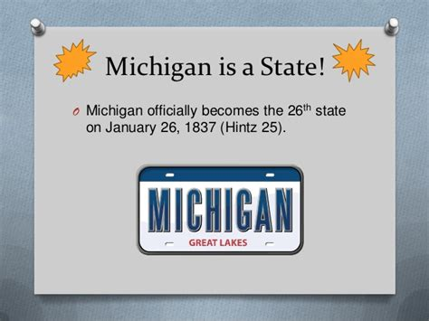 Michigan The 26th State by History Of Michigan From Americans To Statehood