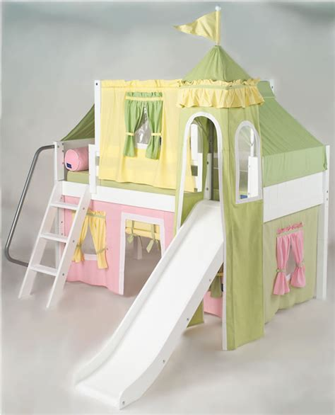 Princess Castle Bed With Slide by Pink Green Yellow Princess Castle Bed With Slide By
