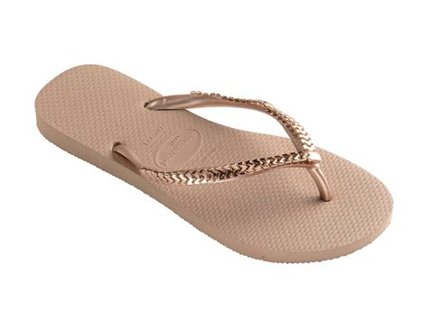 havanas slippers havaianas flip flops with metallic pink gold straps slim