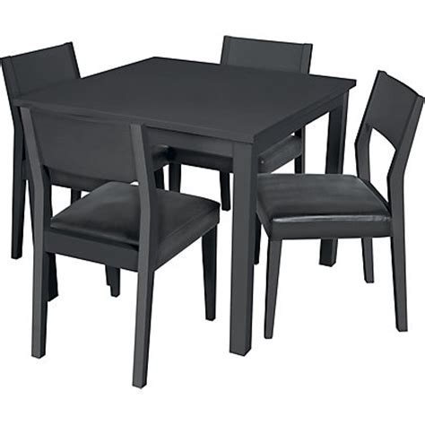 hygena black square dining table and 4 chairs